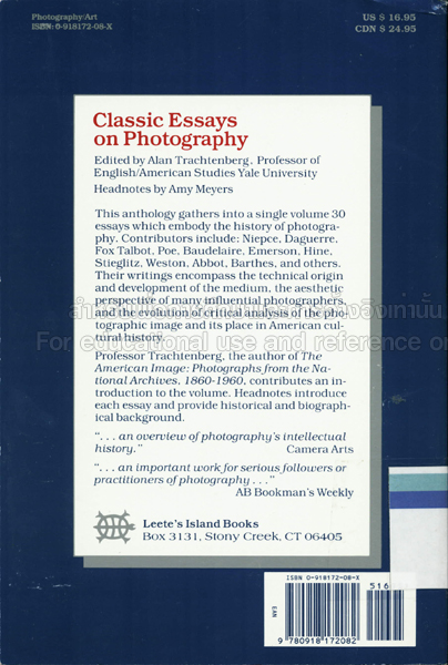 Classic Essays On Photography  Tcdc Resource Center Classic Essays On Photography By Alan Trachtenberg