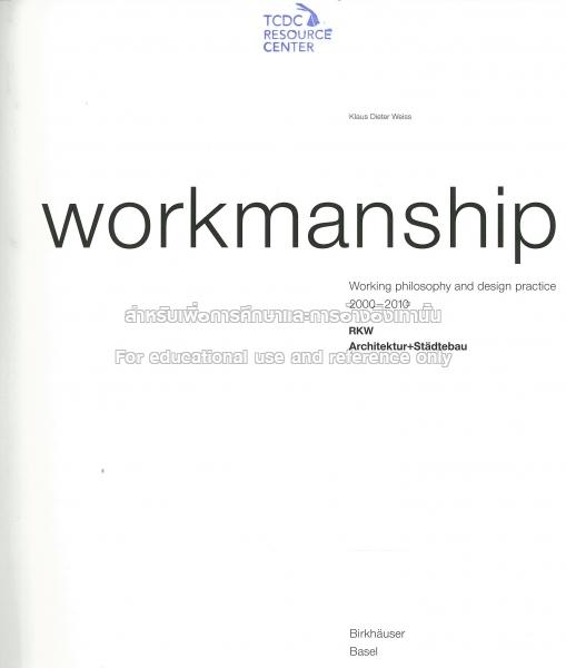 workmanship weiss klaus dieter
