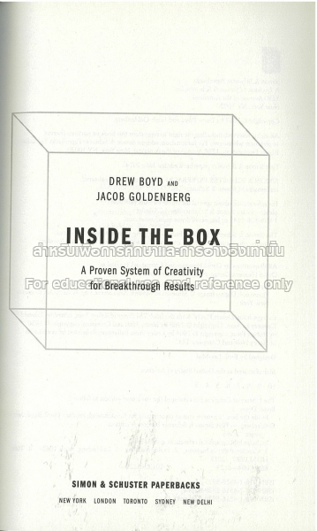 inside the box a proven system of creativity for breakthrough results